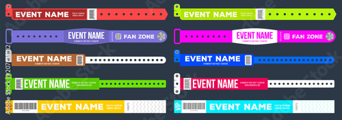 Cuadros en Lienzo  Creative vector illustration of bracelets for entrance to the event isolated on background