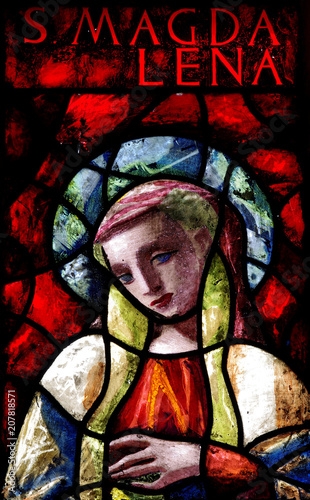 Mary Magdalene in stained glass Wallpaper Mural