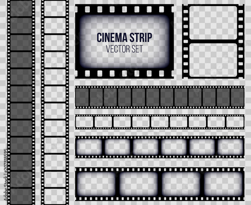 Fototapeta Creative vector illustration of old retro film strip frame set isolated on transparent background. Art design reel cinema filmstrip template. Abstract concept graphic element obraz