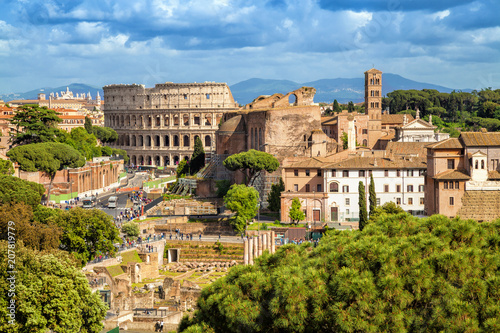 Fototapeta  Aerial scenic view of Colosseum and Roman Forum in Rome, Italy