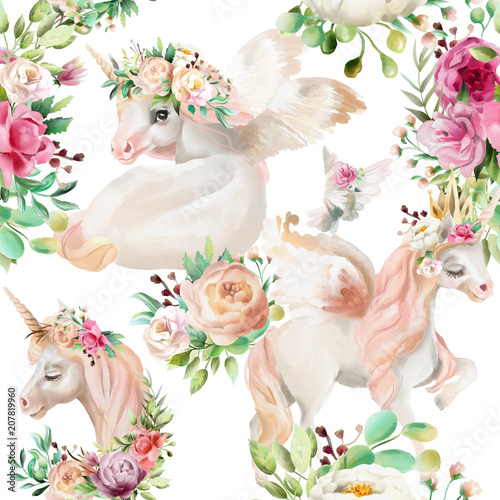 Fototapeta Jednorożec beautiful-watercolor-unicorns-princess-pegasus-in-gold-crown-and-floral-flowers-peony-and-rose-bouquets-and-pigeon-on-white-background-seamless-pattern