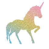 Beautiful, colofrul unicorn, magic horse, pegasus silhouette, rainbow color with shiny golden glitter