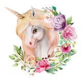 Beautiful, cute, watercolor unicorn head with flowers, floral crown, bouquet isolated on white - 207820703