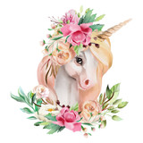 Beautiful, cute, watercolor unicorn head with flowers, floral crown, bouquet isolated on white