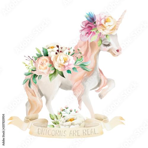 Obrazy Jednorożec   obraz-na-plotnie-piekny-uroczy-akwarelowy-jednorozec-pegaz-z-kwiatami-kwiatowa-korona