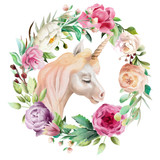 Beautiful, cute, watercolor unicorn head with flowers, floral crown, bouquet in the floral frame isolated on white - 207821115