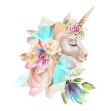 Beautiful, Cute, Watercolor Unicorn Head With Flowers, Floral Crown, Bouquet And Magic Crystals Isolated On White