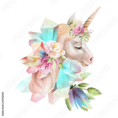 piekny-ladny-akwarela-jednorozca-glowy-z-kwiatow-kwiatowy-korony-bukiet