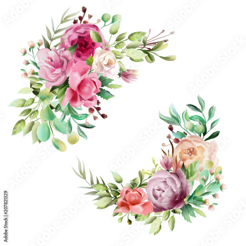 Beautiful watercolor floral bouquet, whimsical flowers wreath, frame, border, divider. Pink rose, violet and cream peony.