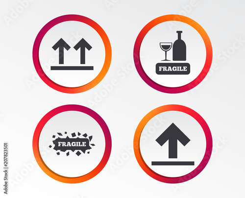 Fragile Icons Delicate Package Delivery Signs This Side Up Arrows