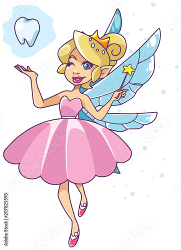 Poster Pony Illustration of the happy tooth fairy, flying on white background.