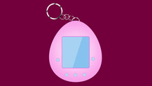 An Old Pink Retro Vintage Antique Hipster Electronic Toy Tamagochi In The Form Of An Egg, From The 80's, 90's For Grooming A Pet On A Pink Background. Illustration.