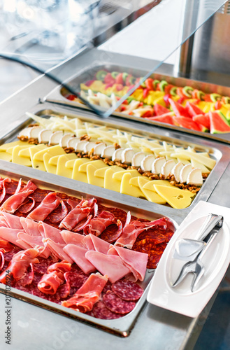 Foto op Plexiglas Buffet, Bar Buffet trays with a various delicious appetizers
