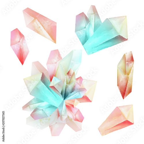 Fotografie, Obraz  Beautiful watercolor fantasy pink magic crystals set isolated on white