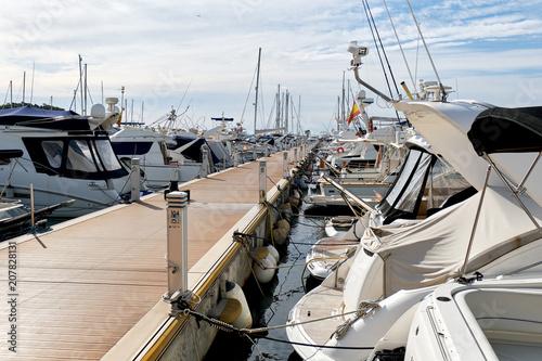 In de dag Poort Moored boats in the port of Santa Eulalia.Ibiza