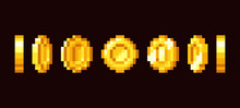 Gold Coin Animation Frames For 16 Bit Retro Video Game. Pixel Art Vector Set