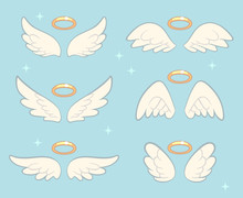 Flying Angel Wings With Gold N...
