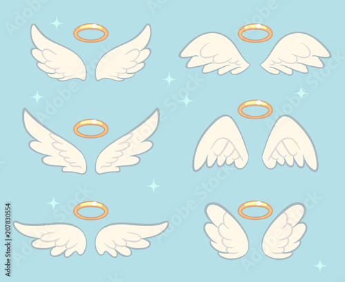 Flying angel wings with gold nimbus. Angelic wing cartoon vector set