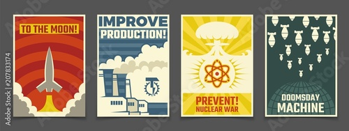 Atomic war military, peaceful space cartoon ussr and industrial propaganda vector vintage posters