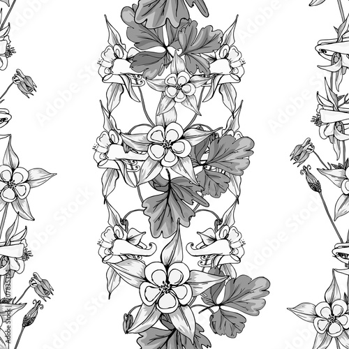 Fotografía Seamless pattern with wildflowers on white background