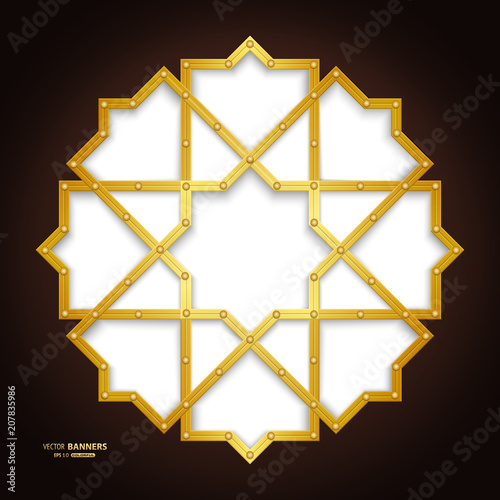 abstract round infographic golden geometric shape with islamic design on dark brown background buy this stock vector and explore similar vectors at adobe stock adobe stock abstract round infographic golden