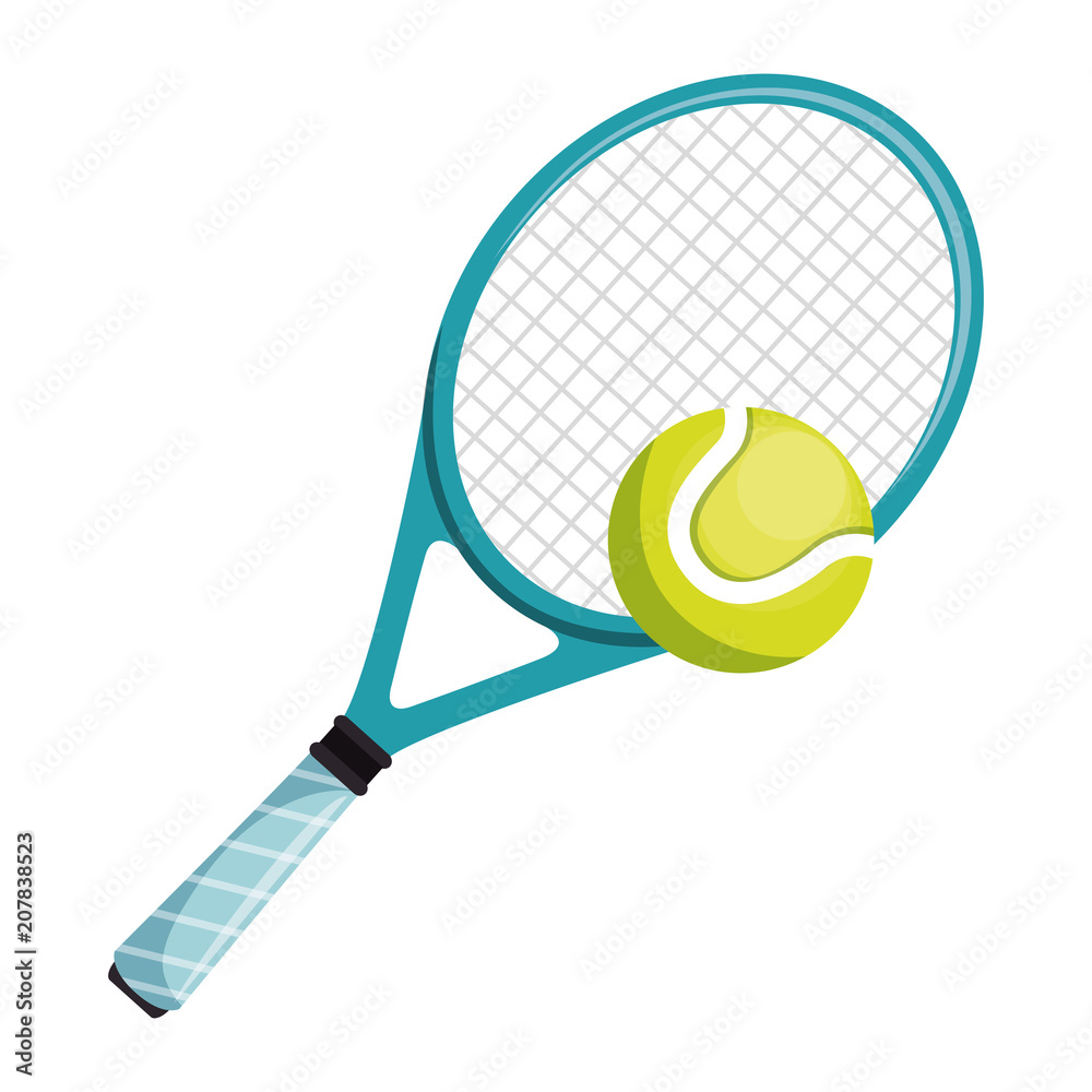 Fototapeta tennis racket and ball isolated icon vector illustration design