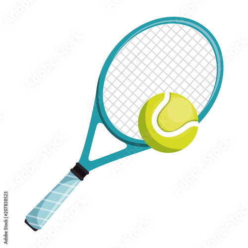Cuadros en Lienzo tennis racket and ball isolated icon vector illustration design