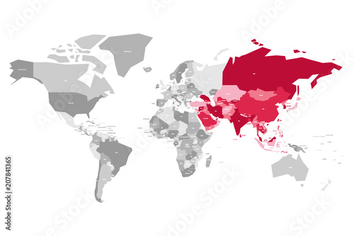 Map of world in grey colors with red highlighted countries of asia map of world in grey colors with red highlighted countries of asia vector illustration gumiabroncs Gallery