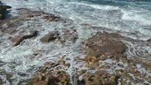 Waves Splashing On The Shore Of Bare Island, La Perouse, Sydney, Australia