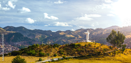 Cristo Rey statue above Cusco near Saqsayhuaman Fort, South America, Peru Canvas Print