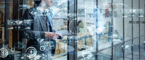 Fotografie, Obraz  Business network concept. SaaS(Software as a Service).