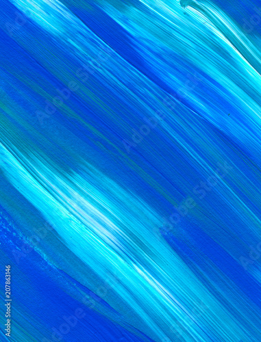 Blue Abstract acrylic painting for use as background, texture