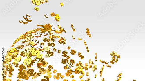 Printed kitchen splashbacks Fairytale World Golden dollar sign flying on the bright background.