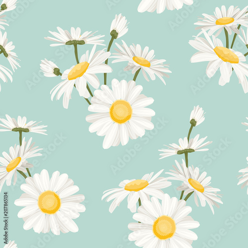 Daisy chamomile field meadow spring summer flowers seamless pattern on light blue sky background. Trendy ditsy floral texture for print, fashion, textile, fabric, decoration, wrapping. Wall mural