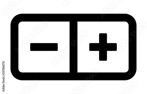 Fotografie, Obraz  Plus and minus stepper button line art vector icon for apps and websites
