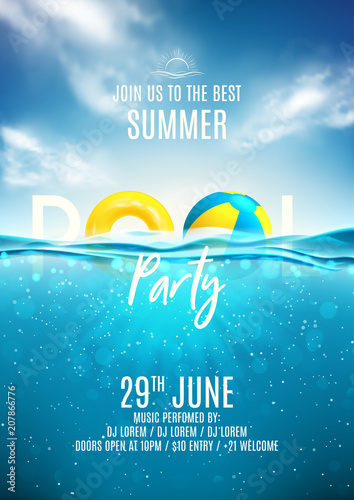 Photo  Summer pool party poster template