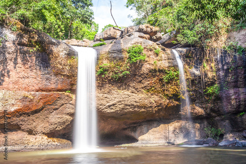 Poster Watervallen Travel and freedom enjoying tropical waterfall view in Khao Yai. nakhonratchasima