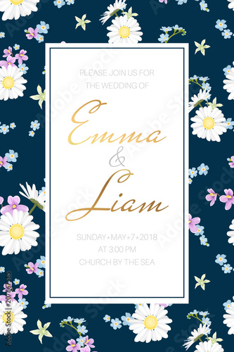 Wedding Marriage Event Invitation Card Template Chamomile
