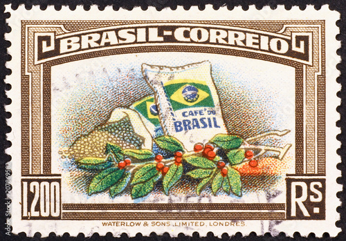 Photo Brazilian postage stamp on coffee industry