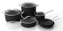 Set Of Black Stainless Steel Cooking Pots And Frying Pans Isolated On White Background. 3d Illustration