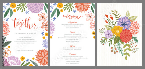 Photo  Wedding invitation and menu design template with floral wreath