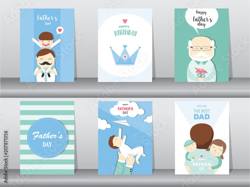 Set Of Happy Fathers Day Card Postertemplategreeting CardssonhugVector Illustrations