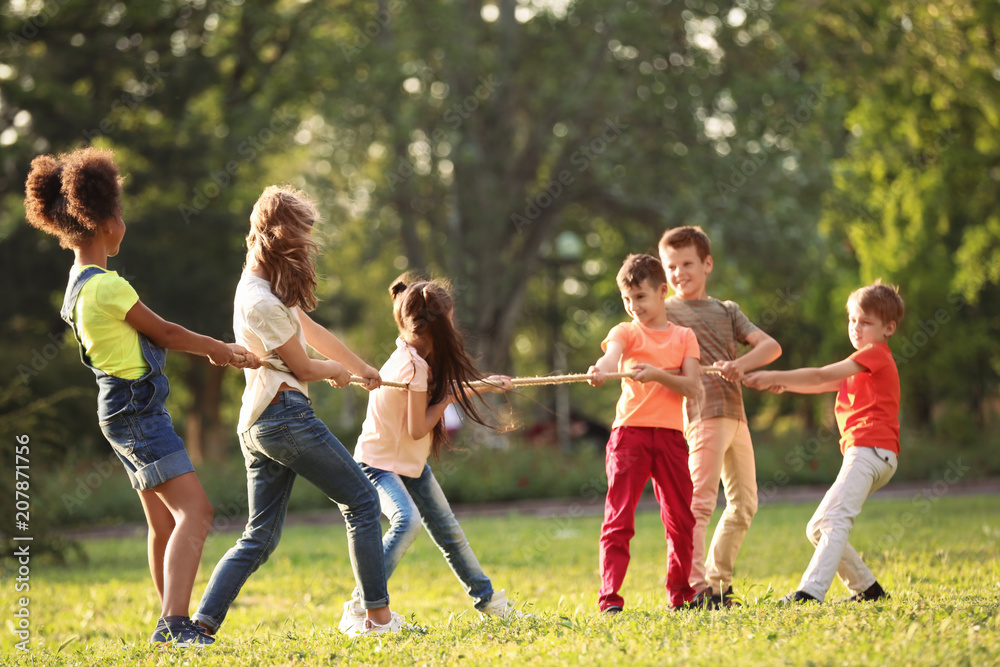 Fototapety, obrazy: Cute little children playing with rope outdoors on sunny day