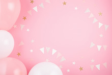 Girls Party Accessories Over The Pink Background. Invitation, Birthday, Bachelorette Party, Baby Shower  Events