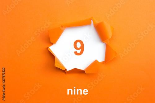 Fotografia  Number 9 - Number written text nine