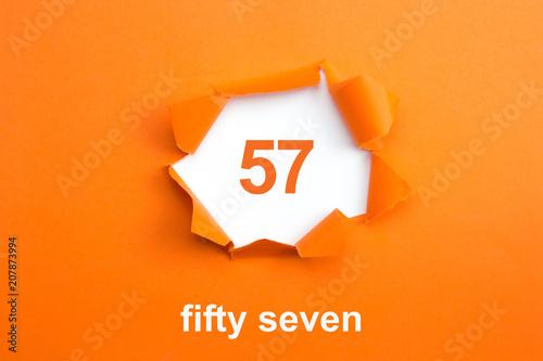 Valokuvatapetti Number 57 - Number written text fifty seven