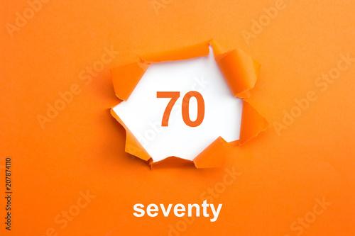 Fototapeta Number 70 - Number written text seventy