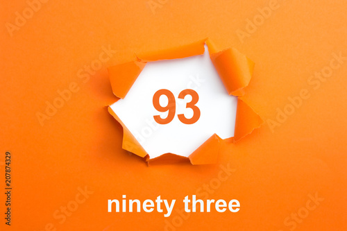 Obraz na plátně Number 93 - Number written text ninety three