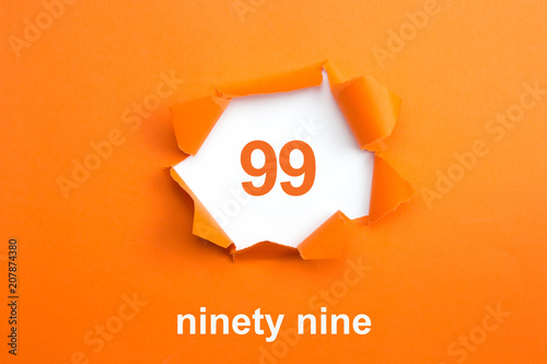Photographie  Number 99 - Number written text ninety nine