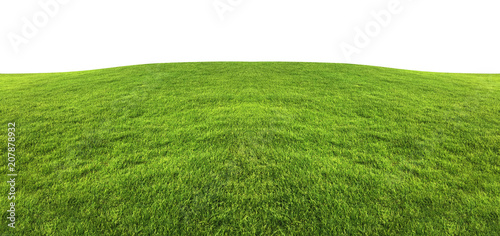 Poster Heuvel Green grass texture background isolated on white background with clipping path.